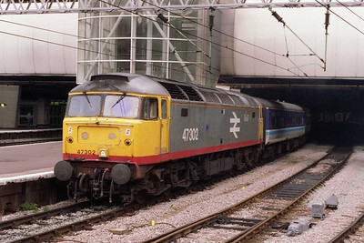 In this view the former Thornaby machine departs New Street for Tyseley with the empty stock (21/08/1993)