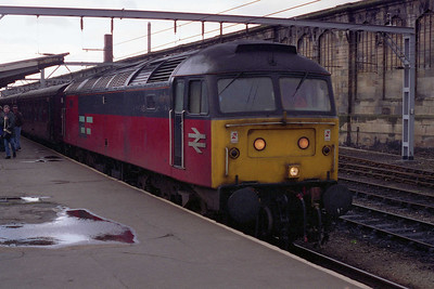 47779 is pictured again on arrival at Carlisle after becoming only the second '47' in recent years to work a passenger train over the full length of the Cumbrian Coast route from Barrow (05/03/1994)