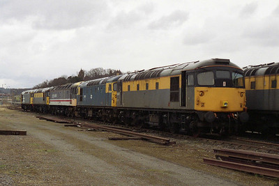 From left to right, 26037/26036/47643/26042/26025 await their respective fates in Millburn yard, Inverness (19/03/1994)