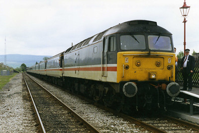 A dozen or so miles into its journey over the 'S&C', 47820 pauses for a 'photo stop' at Ribblehead (11/06/1994)