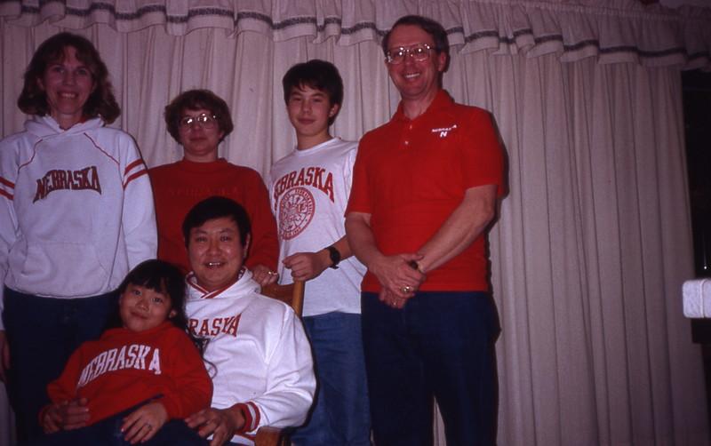 Go Big Red! Carol Lou, Barbara Reynolds, Benjamin Lou, Bob Reynolds, Karen Lou, Paul Lou