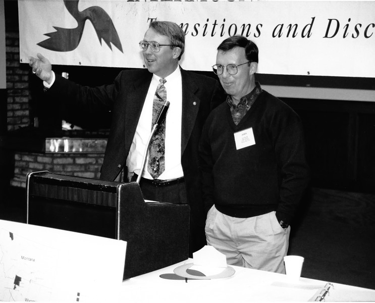 John Reynolds and Bob Reynolds at a NPS conference. Bob is introducing his brother. About 1995