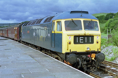 47402 'Gateshead' is pictured on arrival at Rawtenstall with the 0915 from Bury on 'Sulzer Day' at the East Lancashire Railway (12/06/1995)
