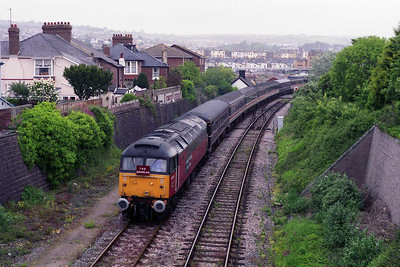 Several hours later, 47777 is seen again departing Paignton with the empty stock for Goodrington Sidings (27/05/1995)