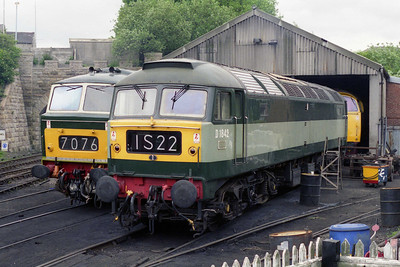 Visiting the railway for the duration of the week-long gala from Crewe Heritage Centre was 47192, which is seen here on shed at Castlecroft (12/06/1995)