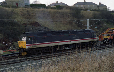 47677 'University of Stirling' is seen here at Skipton during a Sunday  engineering possession (??/03/1995)