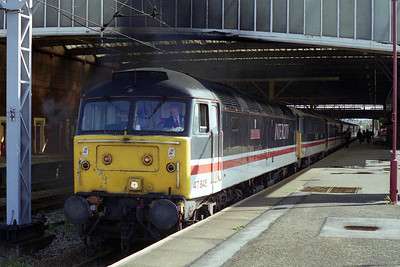 47845 'County of Kent' accelerates away from Stoke-on-Trent with the SuO 1S52 1224 Birmingham - Edinburgh (01/10/1995)