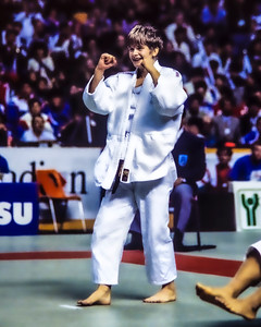 1993 Hamilton World Judo Championships 931002A7109: of Great Britain (white belt)  celebrates defeating Olympic bronze medallist, Chiyori Tateno of Jap....