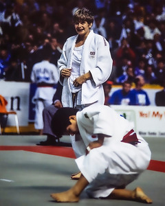 1993 Hamilton World Judo Championships 931002A7101: of Great Britain (white belt)  celebrates defeating Olympic bronze medallist, Chiyori Tateno of Jap....