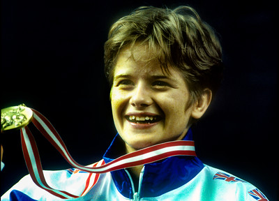 1993 Hamilton World Judo Championships 931002A5008:at Britain proudly shows her u56kg gold medal during the day 3 medal ceremony at the Hamilton World ....