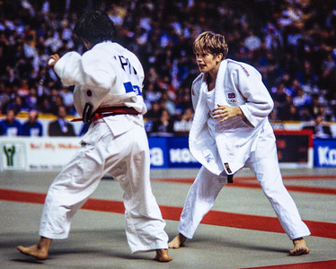 1993 Hamilton World Judo Championships 93 Hamiltos: of Great Britain (white belt)  celebrates defeating Olympic bronze medallist, Chiyori Tateno of Jap....