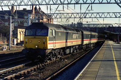 Later that afternoon 47848 departs Crewe with 1S76 0920 Brighton - Glasgow Central (21/02/1996)