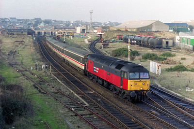 47765 shunts the empty stock off 1D86 alongside the site of the old locomotive depot at Holyhead (21/01/1996)