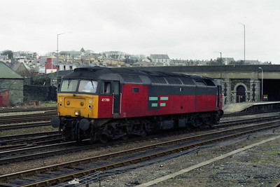 47780 runs round its train at Holyhead after arriving from Stafford with 1D86 0810 Euston - Holyhead (11/02/1996)