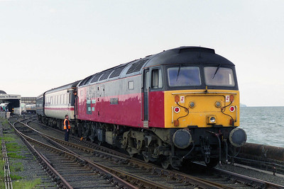 Illustrating the difficulty of running round twelve coaches, 47757 is seen here being re-attached to its train for the return journey prior to setting back into the platform (18/05/1996)