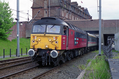 Having run up the ECML to Edinburgh and then taken the little-used 'City Union' line through central Glasgow, 47757 is pictured during a short break at Ayr (18/05/1996)