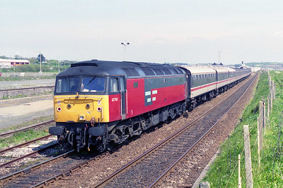 After working 1Z56 0554 Birmingham - Penzance charter, 47761 is seen propelling the empty stock out towards Long Rock for servicing (11/05/1996)