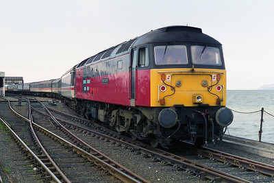 A final look at 47757 prior to departing Stranraer Harbour with the 1535 return leg to Newcastle (18/05/1996)