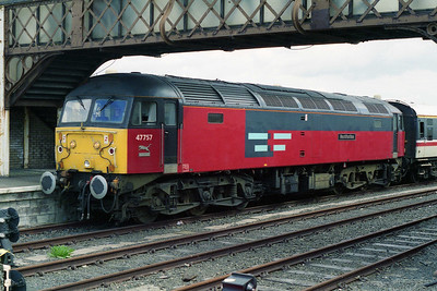 Journey's end: 47757 is pictured on arrival at Stranraer Harbour with 1Z52 (18/05/1996)