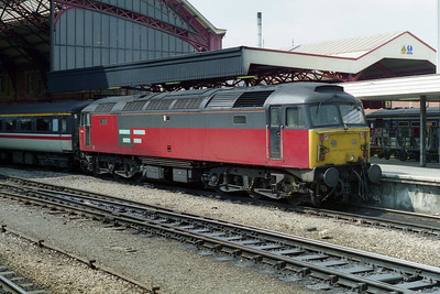Covering for an unavailable 'Inter City' machine, EWS' 47716 waits to depart from Bristol Temple Meads with 1M56 1044 Plymouth - Manchester Piccadilly (06/05/1996)