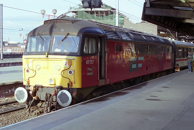 47757 'Restitution' waits to depart from Newcastle with North East Railtours' 1Z52 0721 charter to Stranraer (18/05/1996)