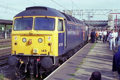 47145 is seen again at Stafford after traversing the chord from the Derby line onto the WCML at Lichefield Trent Valley (27/07/1996)