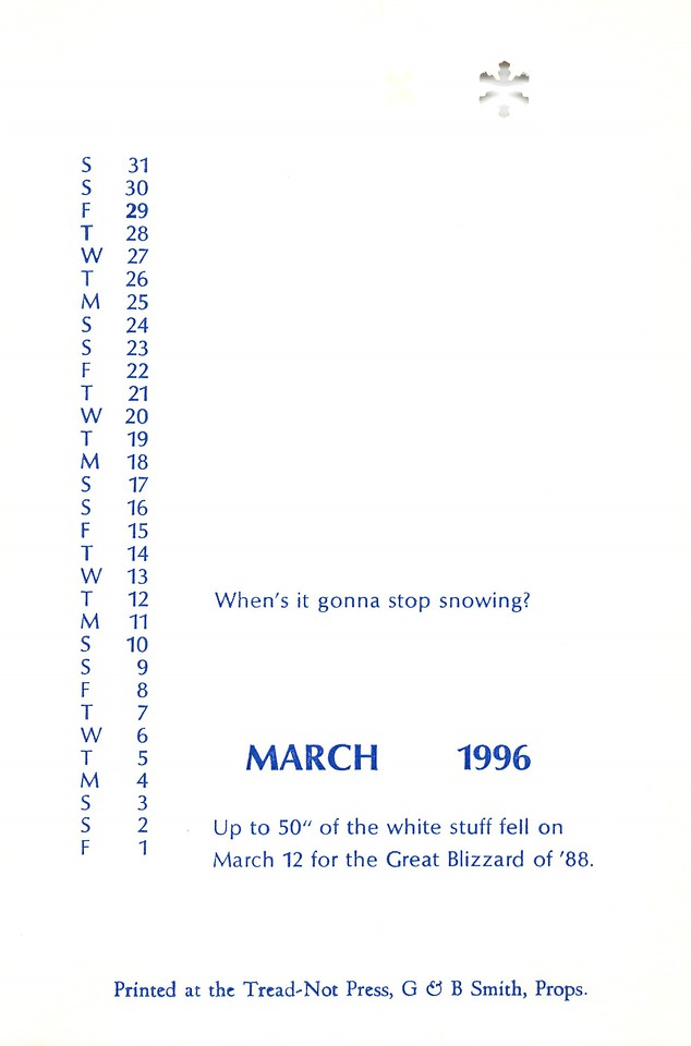 March, 1996, Tread-Not Press