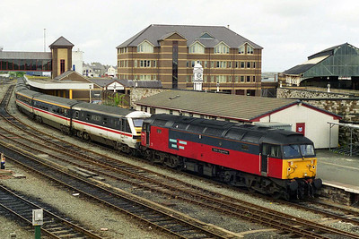 Having been removed from the previous day's charter train at Crewe, 47793 found itself in the right place to work Sunday's '47'-hauled Virgin Trains diagram along the North Wales Coast. 'Saint Augustine' stands in Platform 1 at Holyhead with 1A75 1535 to London Euston (11/05/1997)