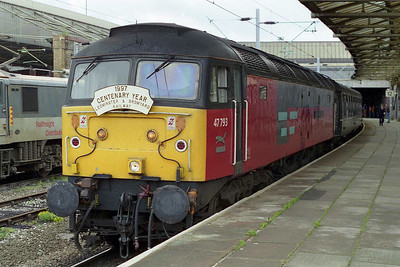 47793 stands at Crewe later that morning awaiting passengers from the 'Marches' who'd travelled north by service trains to catch up with it (10/05/1997)