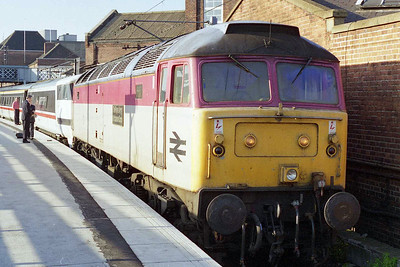 Later that evening 47972 'The Royal Army Ordnance Corps' awaits departure from Doncaster with 1E14 1445 Glasgow Central - Kings Cross. This was to be my last ever run behind this particular machine, and it only just passed the thousand mile mark (25/05/1997)