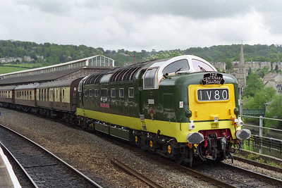 55022 'ROYAL SCOTS GREY' calls at Bath Spa with a VSOE charter from London Victoria to Bristol Temple Meads (05/05/1997)