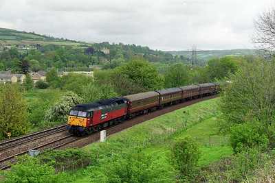 Having continued through to Westbury to run round, 47741 approaches Bath from the east with the ECS off 1Z49 whilst en route to Bristol for servicing (05/05/1997)