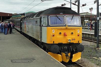 47210 backs onto Hertfordshire Railtours' 1Z47 0833 Kings Cross - Scarborough charter at York (24/05/1997)