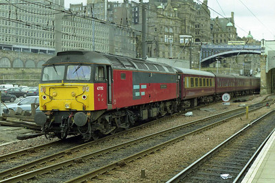 Shortly afterwards 'Saint Cuthbert' is seen departing Waverley with the ECS for Craigentinny (02/08/1997)