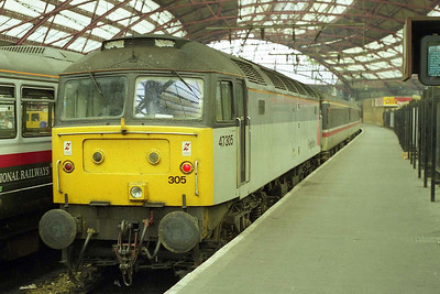 Journey's end: 47305 is pictured on the blocks at Liverpool Lime Street after working 1M01 0642 from Poole (11/08/1997)