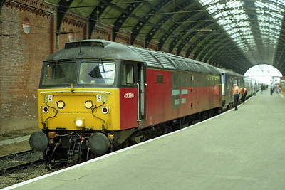 47780 is detached from 1E06 1100 Edinburgh - Kings Cross having dragged the '91' and Mk4s from Newcastle via Hartlepool due to engineering work on the ECML through Durham (24/08/1997)
