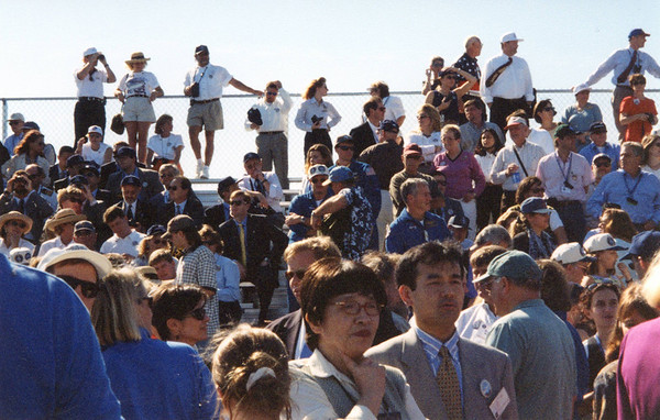 Crowd at the VVIP viewing area. That is Prince Felipe of Spain on the left side with the binoculars!