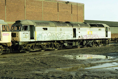 47214 was ironically once named 'Tinsley Traction Depot but the loco has clearly seen better days in this view at the Rotherham scrap yard (15/03/1998)'