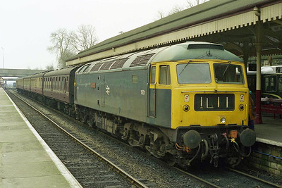 Another running day at the East Lancashire Railway sees 47402 'Gateshead' at the head of the 1100 to Rawtenstall at Bury Bolton Street (14/02/1998)