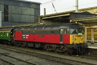 47757 is pictured again later that afternoon prior to departing Carlisle with the 1547 return leg via the Tyne Valley and ECML, which it worked as far as York (24/01/1998)