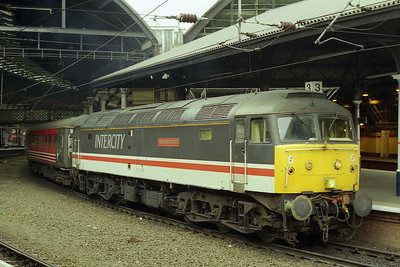 47831 'Bolton Wanderer' waits to depart from Newcastle with the SuO 1O11 1250 to Poole. Remarkably this was the only member of the small pool of Cross Country '47/8s' not to have worked this turn since it had gone over to loco-haulage back in June 1996 (15/02/1998)