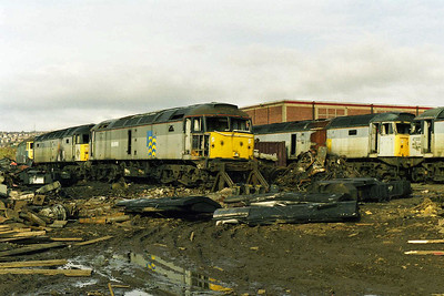 From left to right: 47102, 47378, 47190, 47144 and 47222 await the cutter's torch amongst the debris of Booth's yard (15/03/1998)