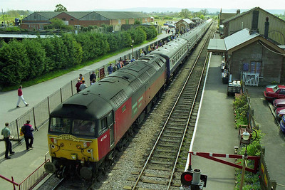 A wide-angle view of 47763 and its train at Bishops Lydeard station on the West Somerset Railway (18/04/1998)