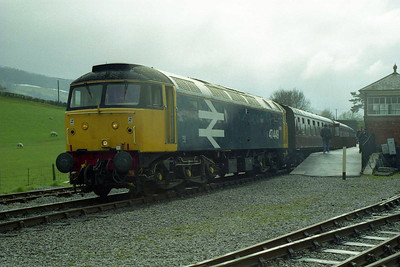 About to work its last train of the day, 47449 awaits departure from Carrog with the 1728 to Llangollen (19/04/1998)