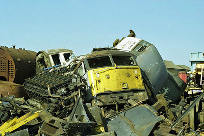 A scene of utter devastation at Booth's: amongst the debris are the cabs of 47249, 47190 and 56122 (17/05/1998)