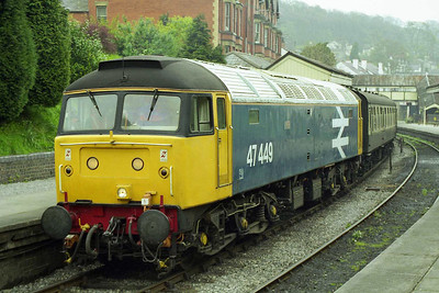The view from the opposite platform as 47449 waits to depart from Llangollen with the 1100 to Carrog (19/04/1998)