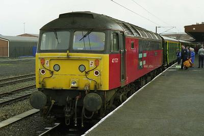 47721 'Saint Bede' backs onto Hertfordshire Railtours' 1Z50 0827 Kings Cross - Carlisle charter at York to take the train forward to its destination via the Settle 7 Carlisle line (04/04/1998)