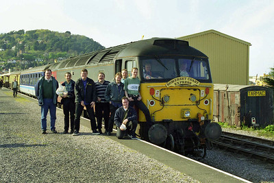 A selection of happy punters and 47763 are pictured at Minehead later that afternoon shortly before the departure of the return leg to Hooton (18/04/1998)