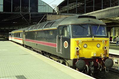 The following morning 47703 is pictured on arrival at Newcastle with 1E25 0855 from Derby (09/08/1998)