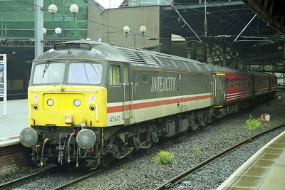 On a wet Sunday lunchtime 47847 stands at Newcastle after working 1E25 0840 from Derby (12/07/1998)